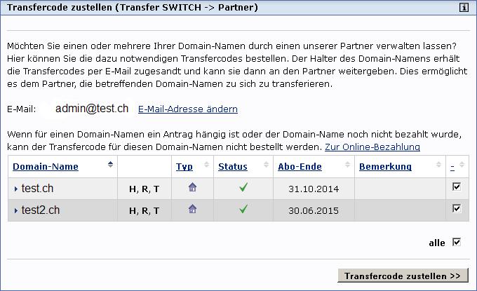 transfercode