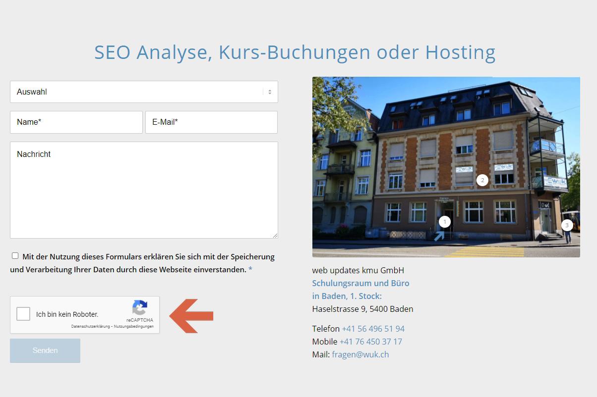web updates kmu GmbH-wuk-WordPress und SEO Agentur - Google recaptcha2