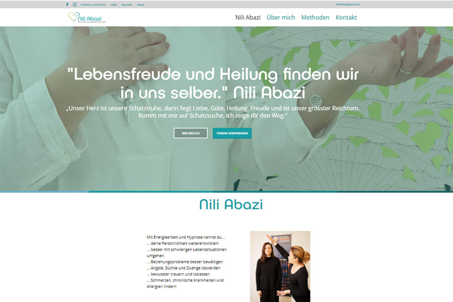 web updates kmu GmbH-wuk-WordPress und SEO Agentur - Referenz Nili Abazi Energie Coach